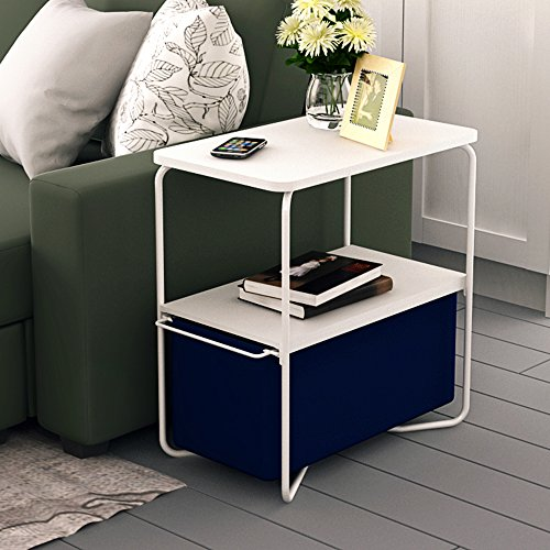 Creatwo End Table, 3 Tiers Wood Side Table/Coffee Table/Sofa Table with Storage Canvas Basket,Blue - Sofa Table Baskets