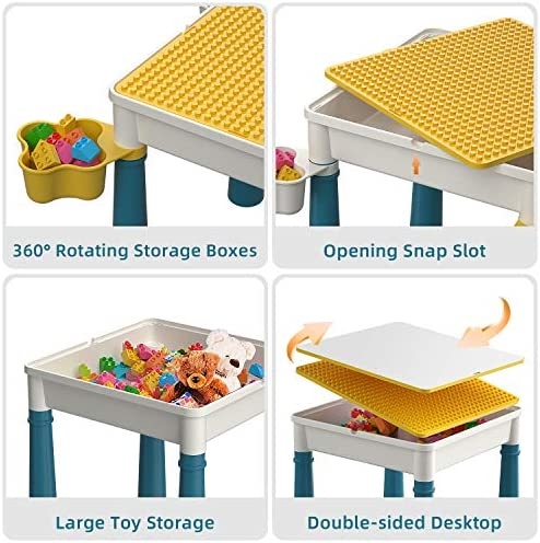 Kids 5-in-1 Multi Activity Table Set - Building Block Table With Storage - Play Table Includes 1 Chair And 130 Pieces Compatible Large Bricks Building Blocks For Ages 2 And Up - Yellow Baseplate …