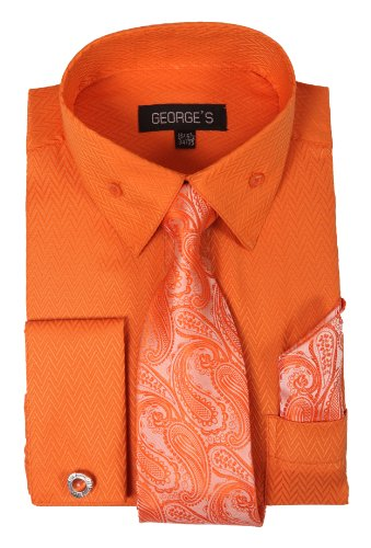 George's Dress Shirt w/ Matching Tie,Hankie,Cuff & Cufflink - Mens Cufflink Dress Shirt