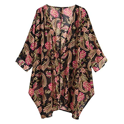 GOVOW Womens Casual Floral Print Long Sleeve Chiffon Cardigan Soft Loose Kimono Blouse Tops Red ()