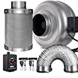6in can fan - iPower 6 Inch 442 CFM Inline Fan Carbon Filter 16 Feet Ducting Combo with Variable Speed Controller and Rope Hanger for Grow Tent Ventilation