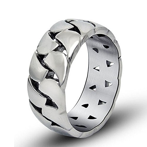 Chryssa Youree Men Women's Glossy Gothic Punk Biker Gift Titanium Steel Jewelry Wedding Band Ring Silver Size 8 to 10(DJZ-10) (Size 10)