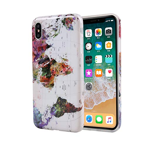 World Map Design Soft Flexible Protective Phone Case for iPhone Xs Max (2018) 6.5-inch from ZQ-Link