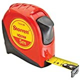 Starrett Exact KTX34-5M-N ABS Plastic Case Red Measuring Pocket Tape, Metric Graduation Style, 5m Length, 19mm Width, 1mm Graduation Interval