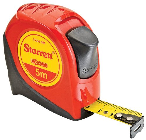 Starrett Tape Measure - Starrett Exact KTX34-5M-N ABS Plastic Case Red Measuring Pocket Tape, Metric Graduation Style, 5m Length, 19mm Width, 1mm Graduation Interval