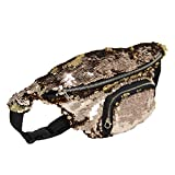 DrCosy Unisex Glitter Mermaid Sequin Waist Pack Fanny Bag Sport Bag Outdoor Travel Crossbody Bags(35x15cm)
