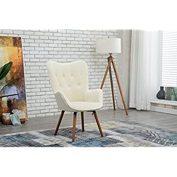 Roundhill Furniture AC155WH Doarnin Silky Velvet Tufted Button Accent Chair, White