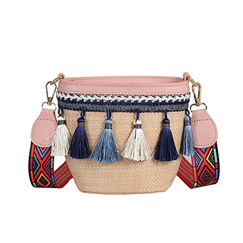 Shoulder 120 Black Handbags Shoulder Tassel Fashion Bag Ethnic nbsp;cm Strap Bag Bag Style flower205 Diagonal Bag Bag Versatile Shoulder Wide nbsp;Straw pink Shoulder xYwHpqWCnF