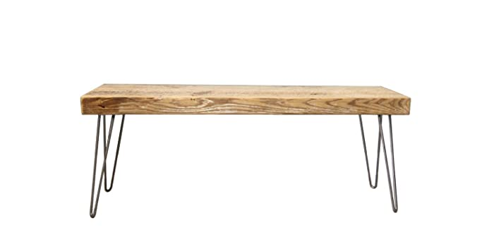 Barn Wood Bench With Steel Hairpin Legs