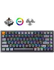 Keychron K2 Wireless Bluetooth/USB Wired Gaming Mechanical Keyboard, Compact 84 Keys RGB LED Backlit Brown Switch N-Key Rollover, Aluminum Frame for Mac Windows