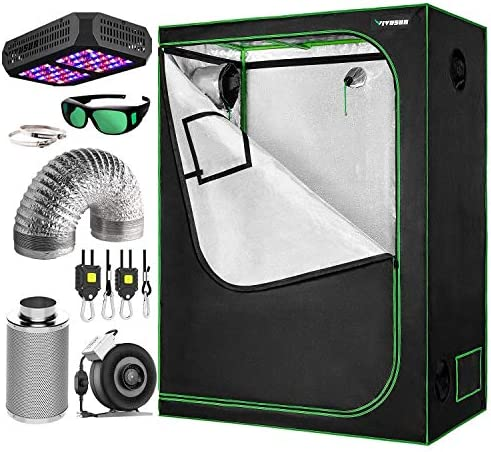 VIVOSUN 48 x24 x60 Grow Tent Bundle, Indoor Tent Complete Kit with Air Filtration Kit, Ducting Combo, 300W Led Grow Light, Glasses, and Rope Hanger
