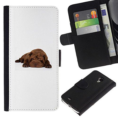 EuroCase - Samsung Galaxy S4 Mini i9190 MINI VERSION! - shar pei sleeping puppy brown dog - Cuero PU Delgado caso cubierta Shell Armor Funda Case Cover