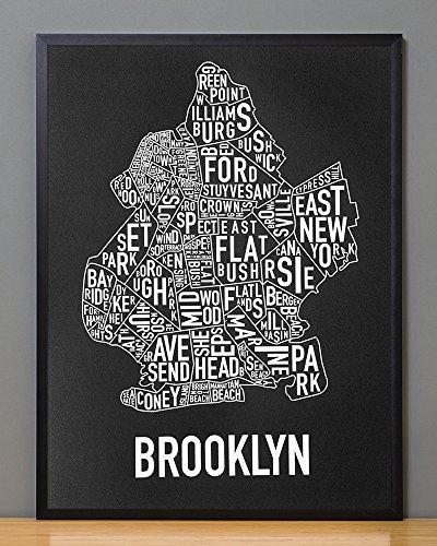 Ork Posters Framed Brooklyn Neighborhoods Map Art Screen Print, Black & White, 18
