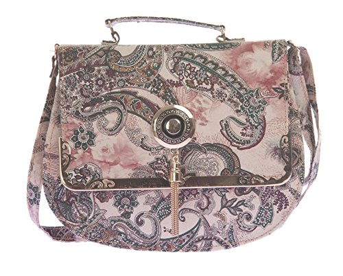 Envie Faux Leather Beige and Multi Colour Printed Sling Bag for Women deee4c8893c6d