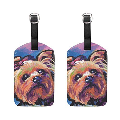 Adorable Yorkie - Adorable Yorkie Dog PU Leather Luggage Tags Suitcase Labels Bag Travel Accessories - Set of 2
