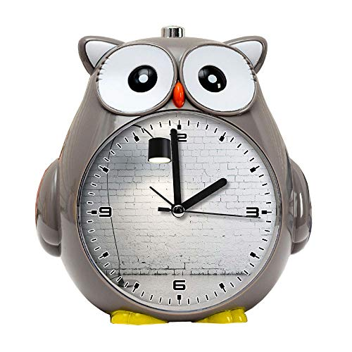 girlsight1 Owl Alarm Clock for Kids, Silent Non-Ticking Cartoon Quartz Loud Alarm Clock, Cute, Handheld Sized, Backlight, Personality Pattern flower617.Turned on Black Torchiere Lamp
