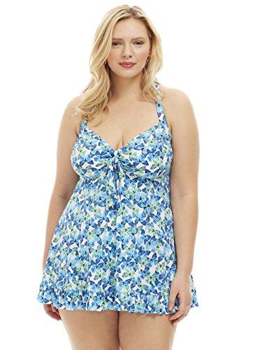 b18eb774441 Always For Me Women s Plus Size Flutter Two Piece Swimdress – Ladies   Bathing Suit   Swimwear – Blue – Flutter Butterfly
