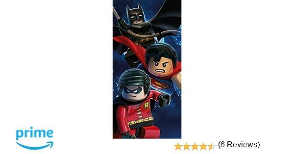 LEGO, toalla de baño de algodón, de playa, diseño de Superhéroes DC Superman, Batman, Robin: Amazon.es: Hogar