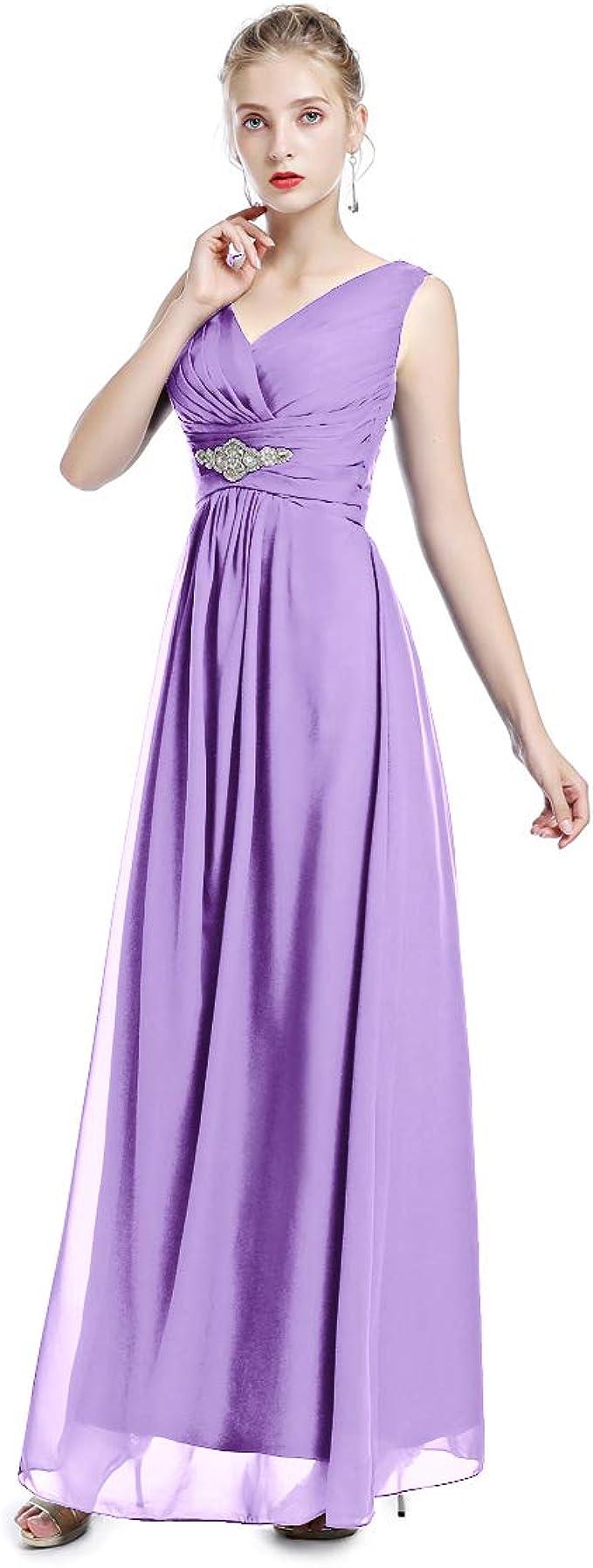 Damen V-Ausschnitt Chiffon Abendkleider Brautjungfernkleid Festkleid  A-Linie Lang Maxikleid Ballkleider Partykleider Frauen Brautkleider  Cocktailkleid