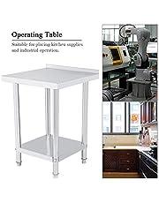 Mesa de trabajo de cocina de acero inoxidable con reborde 2FT/3FT/4FT Mesa de trabajo profesional con 2 estantes, mesa de trabajo, bricolaje, estructura estable para cocina e industrial