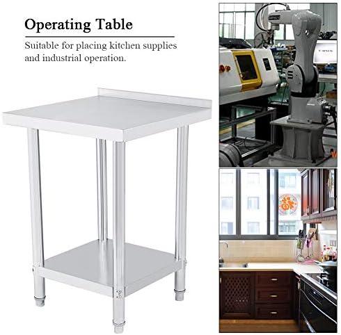 Arbeitstisch für die Küche, aus Edelstahl mit Rand, 2 Regalböden, stabile Struktur für Küche und Industrie 61X61X85CM
