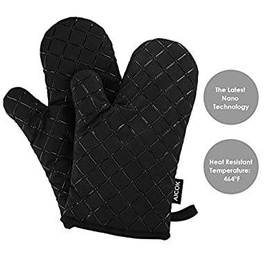Aicok Oven Gloves Non-Slip Kitchen Oven Mitts Heat Resistant Cooking Gloves for Cooking, Baking, Barbecue Potholder, Black, 1 Pair
