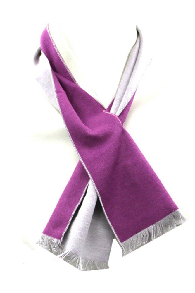 Imani Uomo Boy's 100% Silk Scarves - Plum & Off White