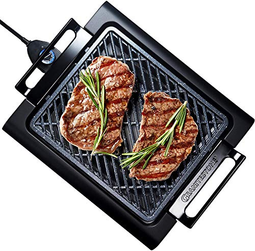 """GRANITESTONE 2584 Indoor Electric Smoke-Less Grill with Cool-touch handles and adjustable Temperature Dial, Nonstick, PFOA-Free, Black 16 x 14"""" As Seen On TV"""