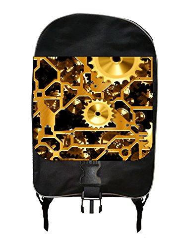 Clockworks Steampunk Golden Gears Print Design - Girls / Boys Large Black Multi-Purpose School Backpack and Pencil Case Set - Elementary / Middle / High School