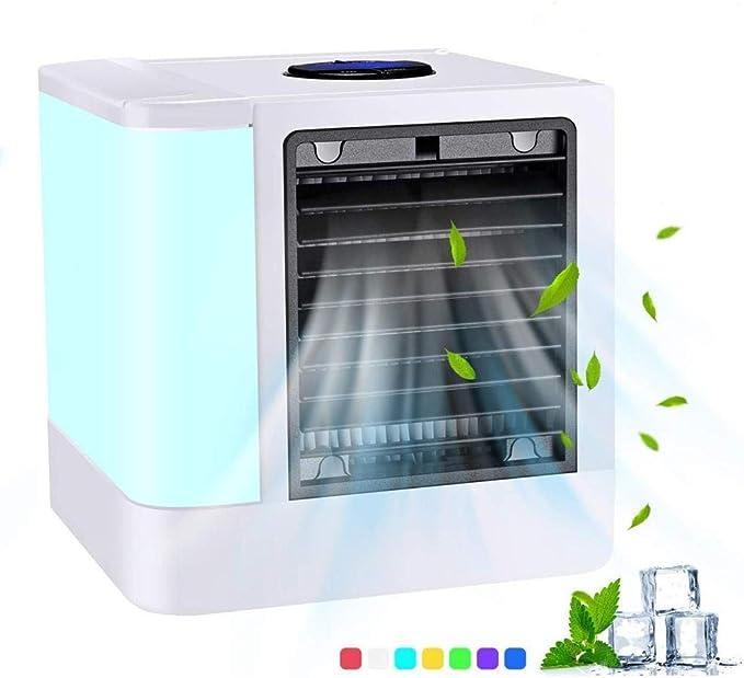 Zqdll Aire Acondicionado Portátil Mini Refrigerador De Aire del Espacio Personal Enfriador De Aire por Evaporación Y Purificador Ventilador USB De 3 Velocidades Y 7 Colores con Luz LED: Amazon.es: Hogar