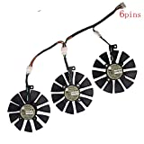 Tebuyus Replacement Video Card Cooling Fan For STRIX GTX980Ti R9 390X R9 390 Graphics Card Fan T129215SU 12V 0.5A 4 Pin 88mm Compatible STRIX GTX1070 GTX1080 RX480