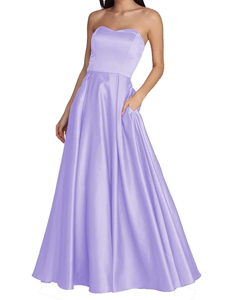 Lavender Women's Strapless Long Prom Dresses A Line Satin Homecoming Party Gowns with Pockets BD040