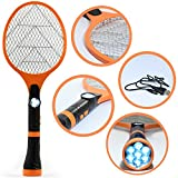 Electric Fly Swatter Bug Zapper - USB Rechargeable Electronic Tennis Racket Insect Swatters with LED Flashlight Handheld Zappers Kills Insects Mosquito Bee and Other Bugs Indoor and Outdoor Killer