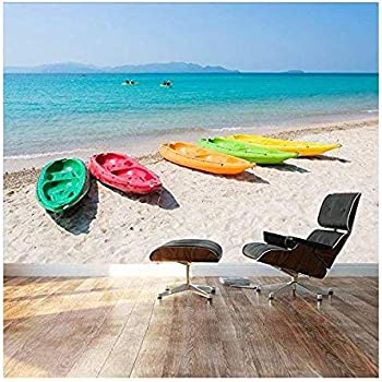 "Wall26 - Large Wall Mural - Beautiful Scenery of Colorful Kayak/Boats on Tropical Beach | Self-adhesive Vinyl Wallpaper/Removable Modern Decorating Wall Art - 66""x96"""