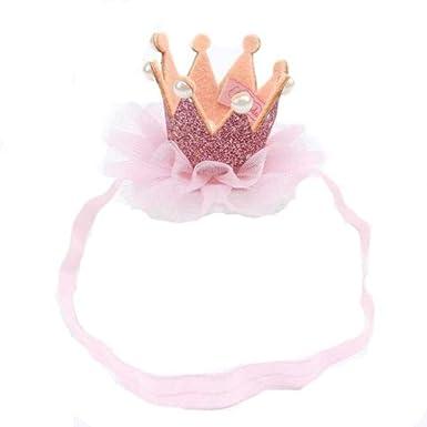 OXOK diadema bebé, Banda para el cabello sombrero corona elástica de cumpleaños headwear para 0