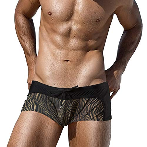 TWinmar Men Boxer Briefs, Beach Print Trunks Running Swimming Shorts Casual Breathable Underwear Low Rise Pants Black