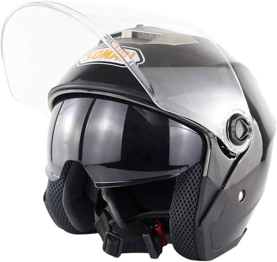 Soman Halber Helm 517 Licht Abs Motorradhelm Vier Jahreszeiten Männer Und Frauen Anti Fog Doppellinse Helm Futter Waschbar Fahrradhelm Black M 57 58cm Sport Freizeit