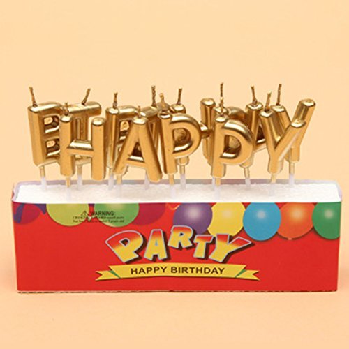 Letter Candle(13-Letters Set) Chic Letter Birthday Candles for Party Time Special Day for Adults Kids (Gold)