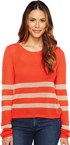 Splendid Women's Stripe Pullover Coral/Heather Oatmeal Shirt