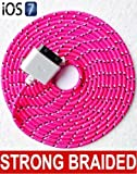 3 Metre STRONG BRAIDED USB DATA SYNC CHARGER CABLE FOR iPHONE 4 4S 3G 3GS iPAD 2,3 in Hot Pink
