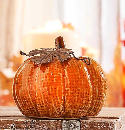 Orange Harvest Pumpkin 3.5 x 2 Inch Glazed Ceramic Decorative Tabletop (Discount Halloween Costumes Review)