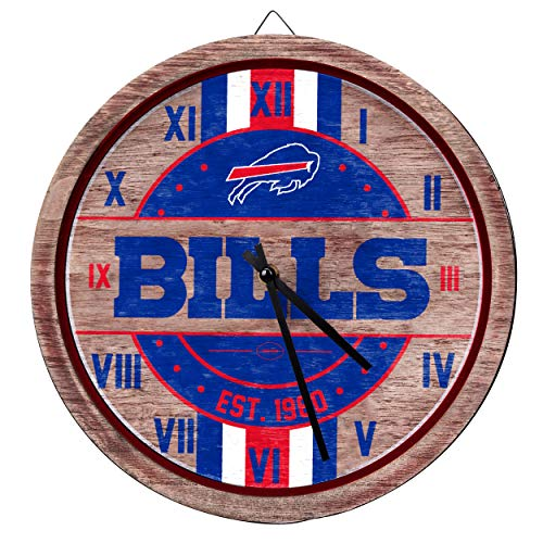 FOCO NFL Buffalo Bills Team Logo Wood Barrel Wall ClockTeam Logo Wood Barrel Wall Clock, Team Color, One - Bills Clock Buffalo