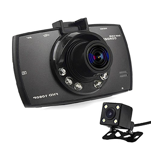 (Meetworld 2.7 Inch Portable Mini Car DVR Camera Full HD 1080P Dash Cam Dual lens Vehicle Video Driving Recorder Night Vision G-Sensor Tachograph Black Box Dashboard Cam)