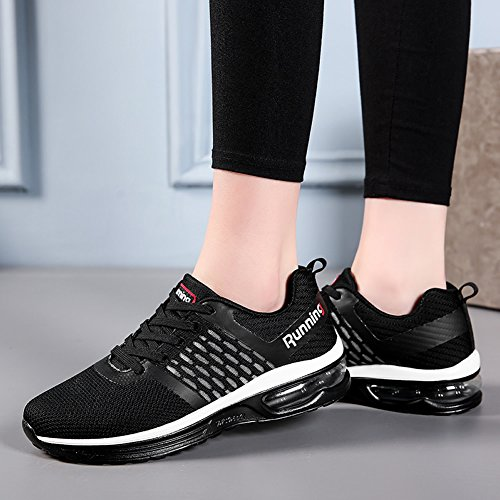 Scarpe Da Corsa Da Donna Jaref Atletica Traspirante Sport Tennis Aria Fitness Palestra Jogging Sneakers Us5.5-10 Nero