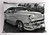 Ambesonne Vintage Pillow Sham, 50s 60s Retro Classic Pin up Style Cars in Hollywood Movies Image Artwork, Decorative Standard Queen Size Printed Pillowcase, 30 X 20 inches, Black White and Gray