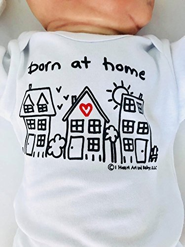 Newborn Born at Home Outfit, Home Birth Baby, Unisex Born at Home Shirt, Birth Announcement Outfit, Crunchy Mom Gift, Long Sleeve, White, up to 12.5 lbs