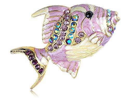 Alilang Golden Tone Light Purple Rhinestones Pearlescent Flounder Fish Brooch Pin