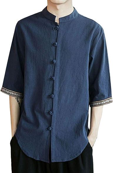 SoonerQuicker Camisa de Hombre Camiseta de Manga de Tres Cuartos de Manga Larga de Lino de Color Puro de Verano de los Hombres Tops T Shirt tee Blusa: Amazon.es: Ropa y accesorios