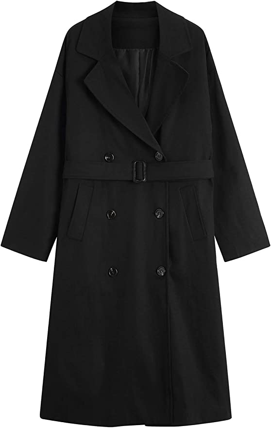 MOCRIS Double-Breasted Mid-Length Overcoat Windbreaker with Belt