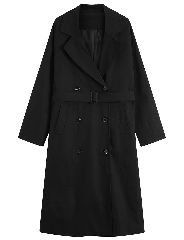 MOCRIS Trench Coats for Women, Double-Breasted Mid-Length Overcoat Windbreaker with Belt Windbreaker Black by MOCRIS